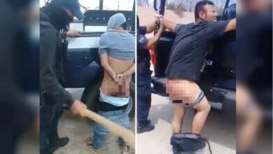 A tablazos y batazos, policías se turnan para castigar a detenidos (VIDEO)