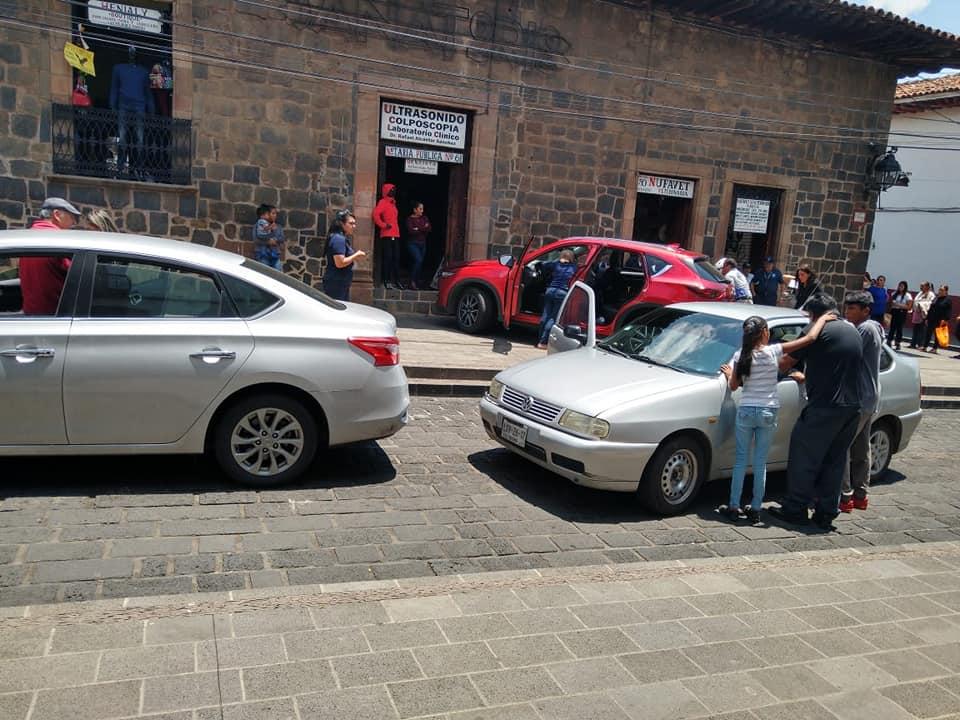 Accidente vial en Centro Histórico de Pátzcuaro