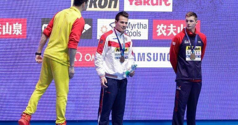 Nadador chino se burla de sus rivales derrotados