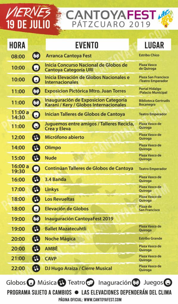 Programa del Cantoya Fest Pátzcuaro 2019 - Pátzcuaro Noticias