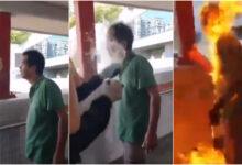 VIDEO: Prenden fuego a un hombre por discutir con manifestantes