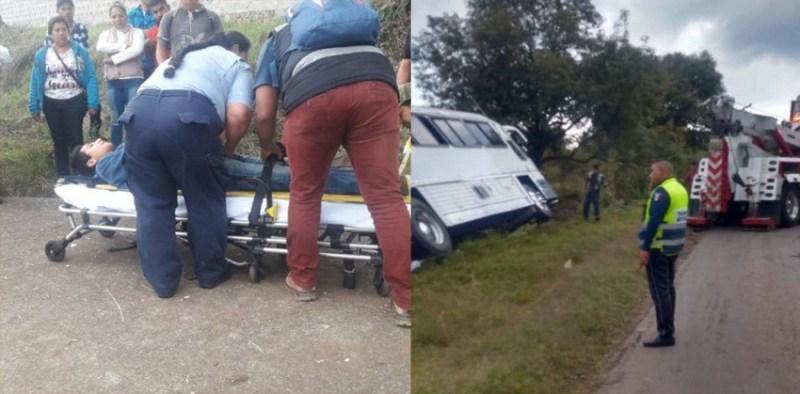 Vuelca autobús de pasajeros en la Pátzcuaro - Morelia