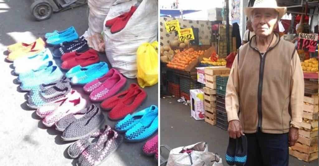 Don José es de Michoacán y vende zapatos tejidos para ayudar a su familia