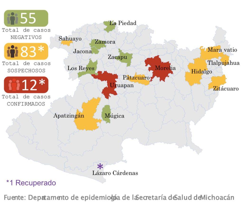 12 casos de coronavirus COVID-19 en Michoacán [25 DE MARZO]