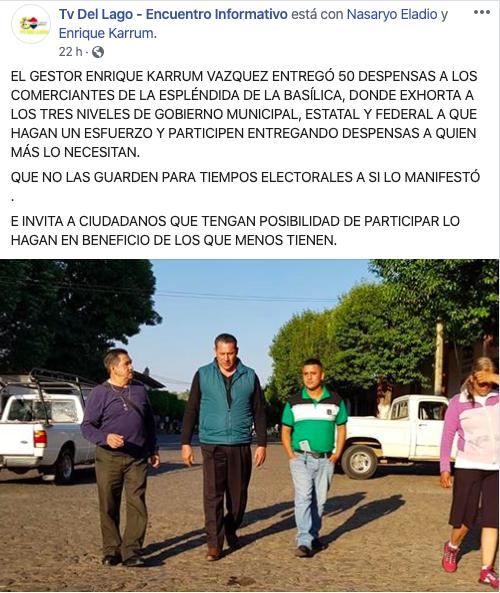 """Tunden a Enrique Karrum por """"regalar"""" despensas a 118 pesos"""
