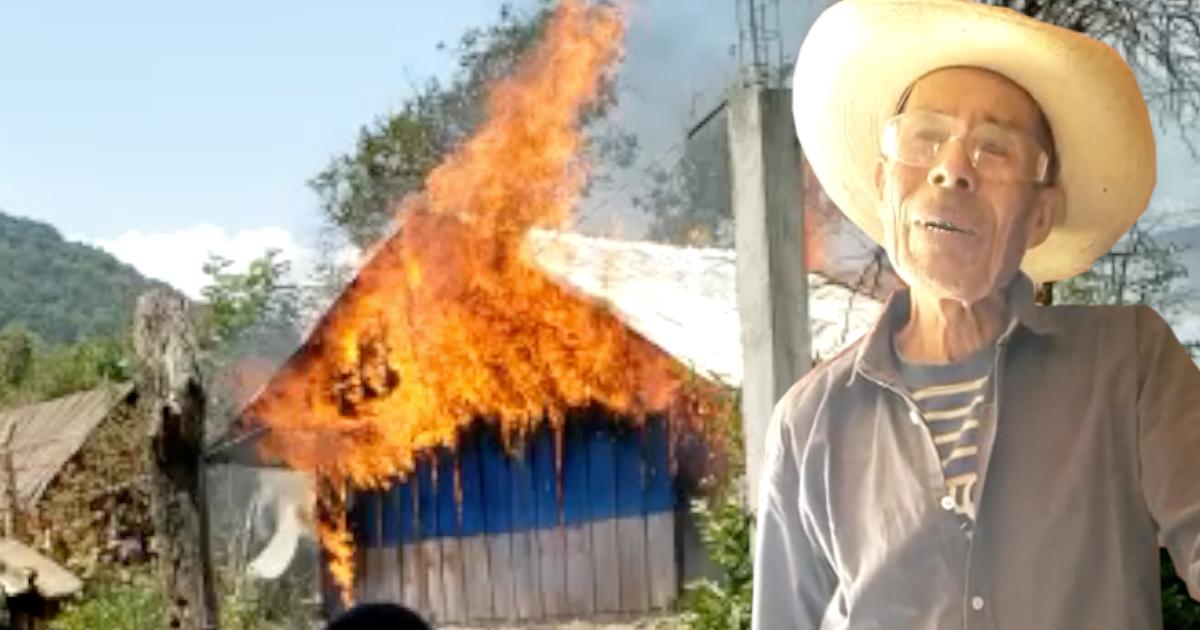 Don José perdió su casa en un incendio en Pátzcuaro y ahora pide ayuda
