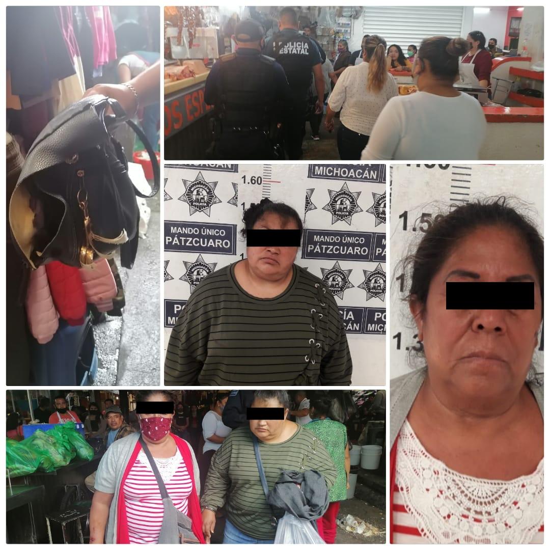 Detienen a 2 presuntas ladronas en el Mercado Municipal de Pátzcuaro