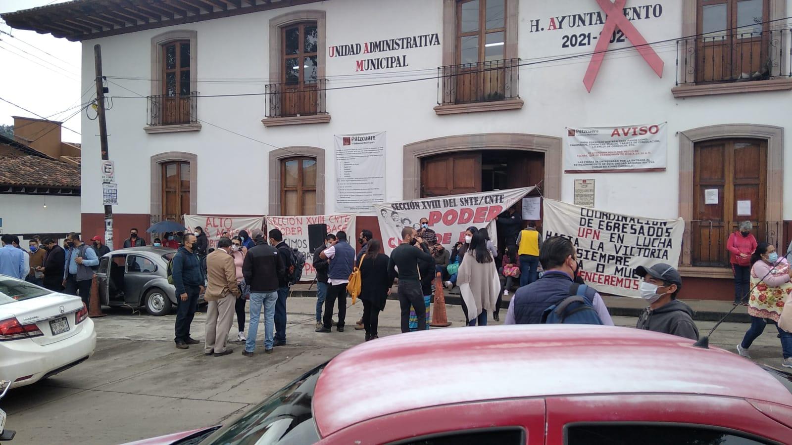 Poder de Base de la CNTE toma la presidencia de Pátzcuaro